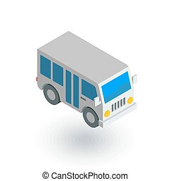 passenger bus isometric flat icon. 3d vector colorful...