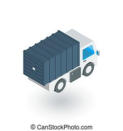 truck cab, van body, container isometric flat icon. 3d...
