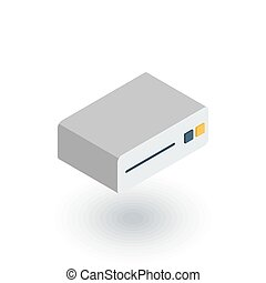 cd player, console, DVD, cd-rom isometric flat icon. 3d...