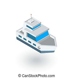 Yacht boat isometric flat icon. 3d vector colorful...