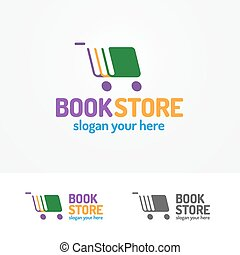 Book store logo set consisting of books and cart - Book...