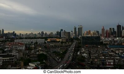 Cityscape and transportation in day to night - Bangkok,...