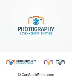 Photography logo set with photocamera modern color style for...