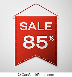 Red pennant with inscription sale eighty five percent Discounts over a grey background. Sale concept for shops store market, web and other commerce. Vector illustration.