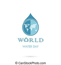 Water drop with world icon vector logo design template.World...