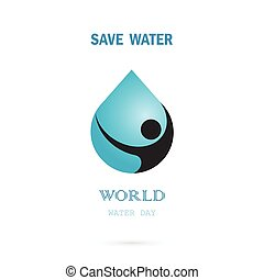 Water drop with human icon vector logo design template.World...