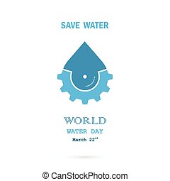 Water drop with cog icon vector logo design template.World...