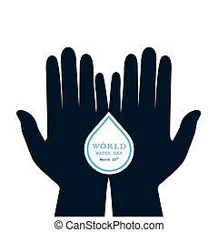 Water drop with human hand icon vector logo design...