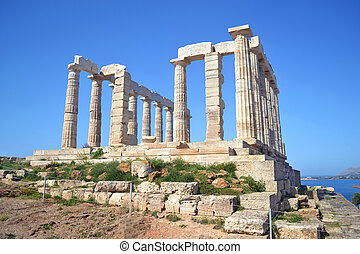 capa,  Poseidon,  Sounion, Templo, Grécia