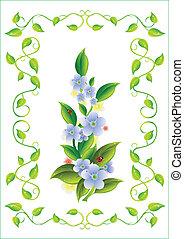 flower in the frame.Vector illustration