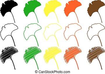 couleur,  ginkgo, ensemble,  -, feuille