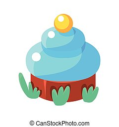 Chocolate Cupcake With Blue Icing, Fairy Tale Candy Land Fair Landscaping Element In Childish Colorful Design Isolated Object