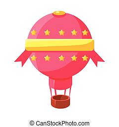 Pink Hot Air Baloon Aircraft, Fairy Tale Candy Land Fair Landscaping Element In Childish Colorful Design Isolated Object