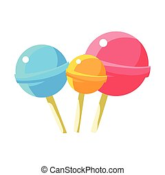 Three Round Lollyops Hard Candy On Stick, Fairy Tale Candy...