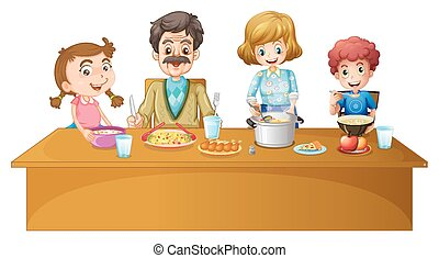 Family members having dinner at the table