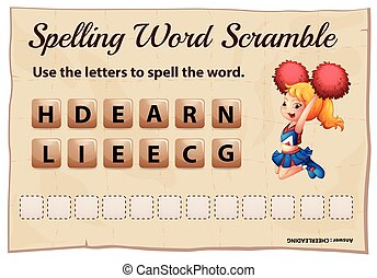 Spelling word scramble game for cheerleading illustration