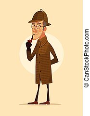 Detective man character smoking pipe. Vector flat cartoon...