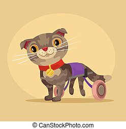 Disabled cat character in wheelchair. Vector flat cartoon illustration