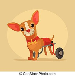 Disabled dog character in wheelchair. Vector flat cartoon illustration