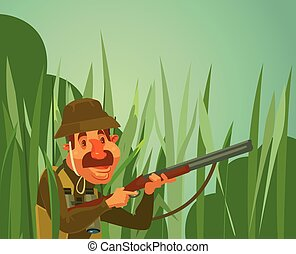 Hunter man character hunt ducks. Vector flat cartoon...