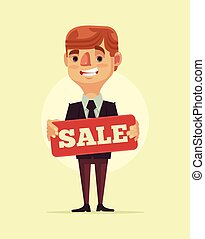 Worker man manager character hold sale board. Vector flat...