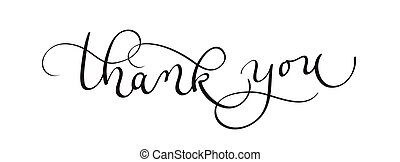 Thank you text on white background. Calligraphy lettering Vector illustration EPS10