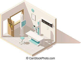 Vector isometric low poly x-ray machine and radiology room...