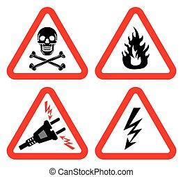 set of signs for danger