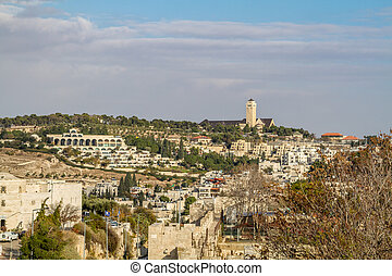 View from wall of the Old City of Jerusalem, Israel - View...