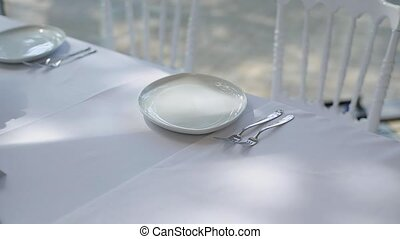 Decorating plate on a celebration table indoors