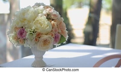 Flowers compositions on table - Flowers compositions with...