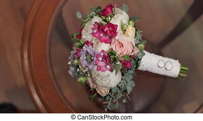 Bridal bouquet on table indoors