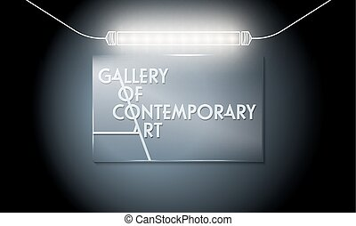 Glass panel with the words gallery of contemporary art and lights