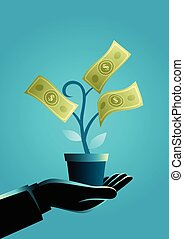 Businessman hand holding a pot with money tree