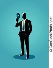 Businessman holding a mask in front of his face - Business...