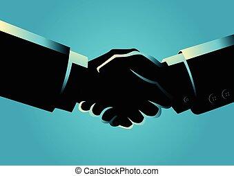 Businessmen shaking hands - Business concept illustration of...