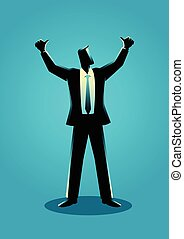 Businessman hands up - Business illustration of a...
