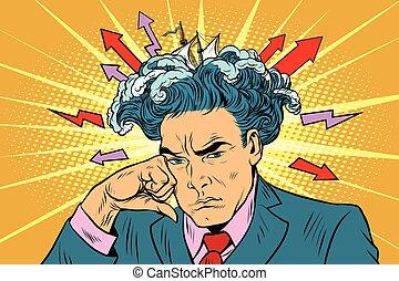 Brainstorm man thinks. Pop art retro vector illustration