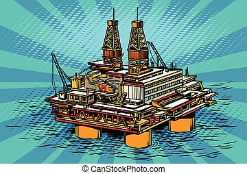 Oil and gas producing offshore platform. Pop art retro...