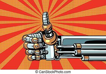 Robot thumb up gesture like. Pop art retro vector...