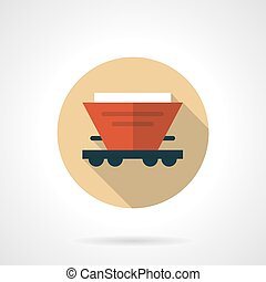 Red hopper car beige round vector icon - Symbol of hopper...