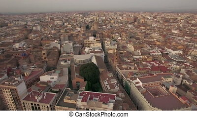 Aerial morning flight above Valencia, Spain - Aerial morning...