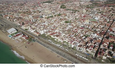 Aerial shot of Barcelona and coast, Spain - Aerial view of...