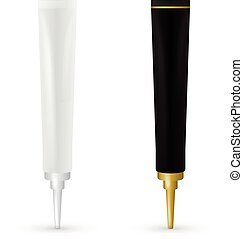 Cosmetic plastic tube for gel, liquid, lotion, cream, sunscreen. Beauty product package, vector illustration.