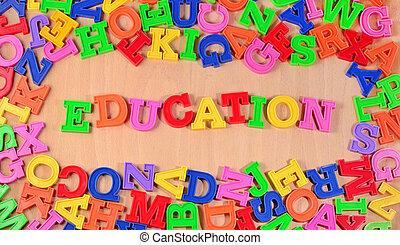 寫, 教育, 信件, 鮮艷, 塑料
