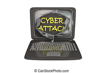 Computer cyber attack, conceptual image. 3D illustration...