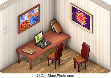 Low-polygonal isometric room with table, chairs, laptop,...