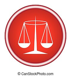 Red Justice scale icon on white background. Vector illustration.