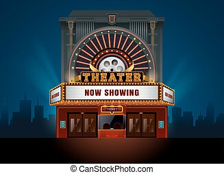 theater cinema building vector easy to change color and...