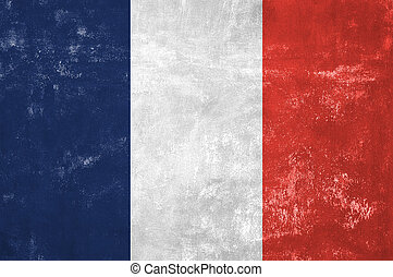 France - French Flag on Old Grunge Texture Background